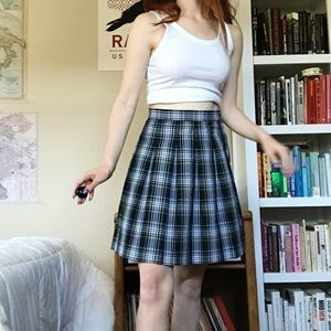 90s Vintage Campbell Plaid Pleated Skirt